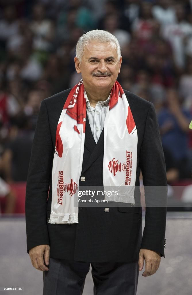 Turkish Prime Minister Binali Yildirim attends the cup ceremony after the FIBA Eurobasket 2017 final basketball match between Slovenia and Serbia at the Sinan Erdem Dome in Istanbul, Turkey on September 17, 2017.