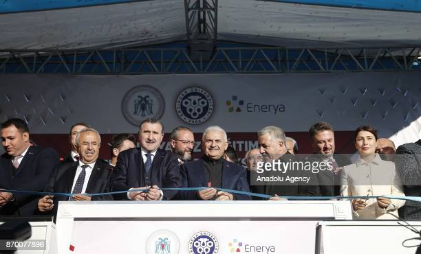 Turkish Prime Minister Binali Yildirim atttends the groundbreaking ceremony for vocational school and gas distribution center school on November 4...