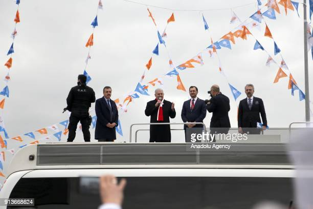 Turkish Prime Minister Binali Yildirim delivers a speech ahead of the 6th Ordinary Provincial Congress of AK Party in Tekirdag province of Turkey on...