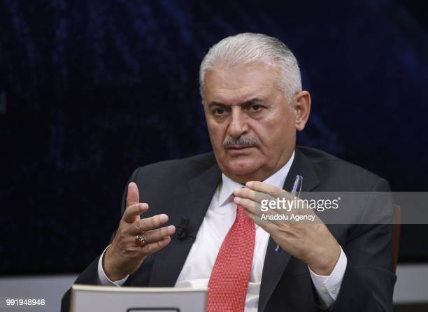 Turkish Prime Minister Binali Yildirim delivers a speech as he is the special guest of Anadolu Agency's Editors Desk in Ankara Turkey on July 5 2018