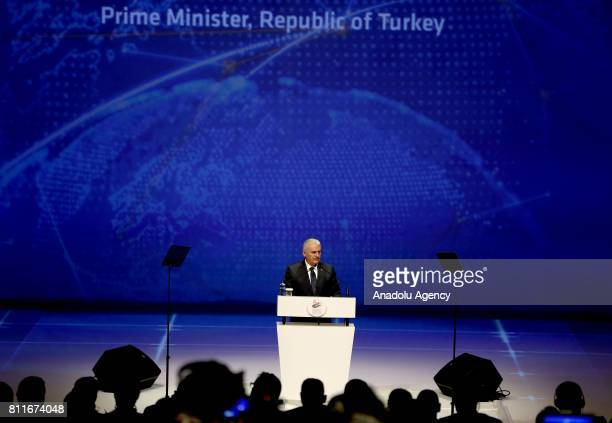 Turkish Prime Minister Binali Yildirim delivers a speech during 22nd World Petroleum Congress the largest meeting of oil and gas industry at Istanbul...