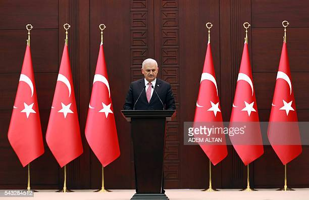 Turkish Prime Minister Binali Yildirim delivers a speech during a press conference after a TurkishIsraeli meeting at the Cankaya Palace in Ankara on...