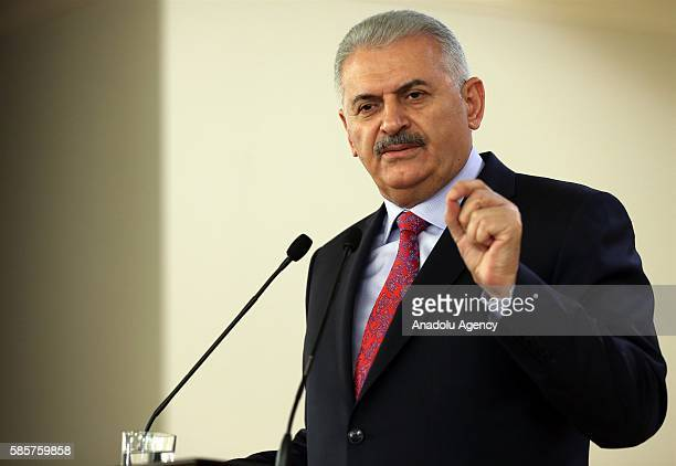 Turkish Prime Minister Binali Yildirim delivers a speech during a consultation meeting with Heads of Chambers and Commodity Exchanges at Cankaya...