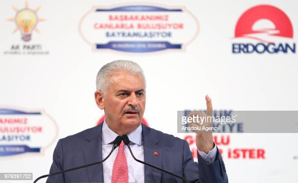 Turkish Prime Minister Binali Yildirim delivers a speech during a meeting with Alevi opinion leaders on June 16 2018 in Istanbul Turkey