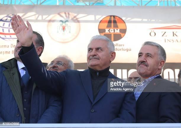 Turkish Prime Minister Binali Yildirim delivers a speech during groundbreaking ceremony for new road Kemaliye Dutluca on November 4 2017 in Erzincan...
