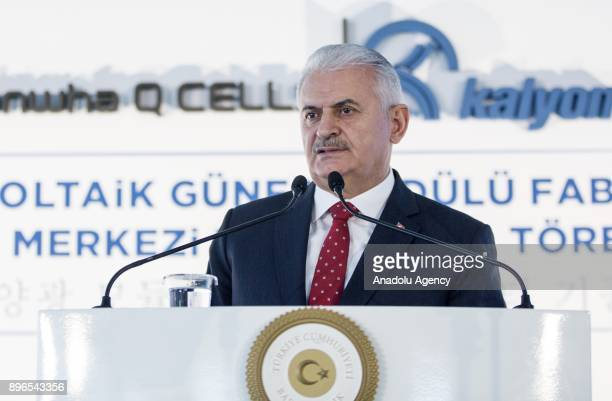 Turkish Prime Minister Binali Yildirim delivers a speech during Renewable Energy Resource Area Photovoltaic Solar Module Factory and Research and...