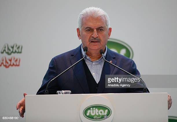 Turkish Prime Minister Binali Yildirim delivers a speech during the opening ceremony of SUTAS Ege dairying project in Tire district of Izmir Turkey...