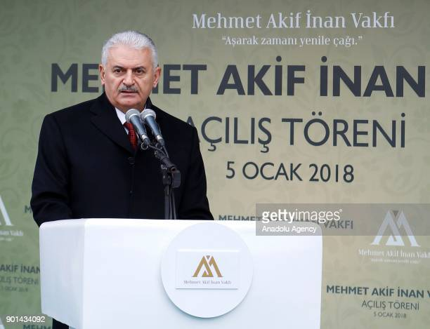 Turkish Prime Minister Binali Yildirim delivers a speech during the opening ceremony of Mehmet Akif Inan foundation's service building in Ankara...