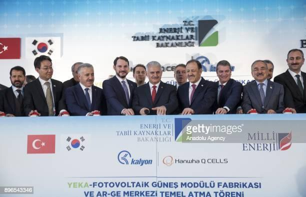 Turkish Prime Minister Binali Yildirim Energy and Natural Resources Minister of Turkey Berat Albayrak and Turkish Transport Maritime Affairs and...