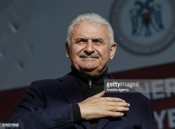Turkish Prime Minister Binali Yildirim greets crowd during groundbreaking ceremony for vocational school and gas distribution center school on...