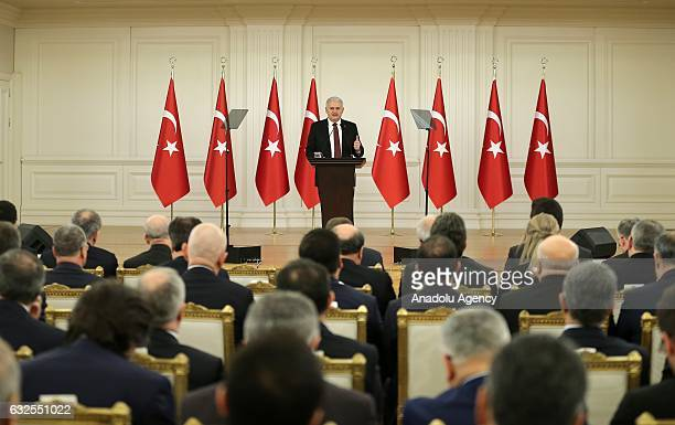 Turkish Prime Minister Binali Yildirim in Ankara delivers a speech during the inauguration program to launch attraction centers focused on providing...