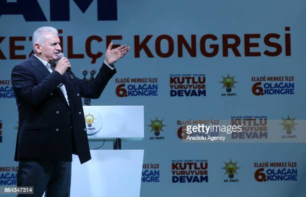 Turkish Prime Minister Binali Yildirim makes a speech during the Turkey's ruling Justice and Development Party's Elazig 6th Ordinary District...