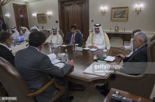 Turkish Prime Minister Binali Yildirim meets Qatari Minister of Economy and Commerce Sheikh Ahmed Bin Jassim alThani at the Cankaya Palace in Ankara...
