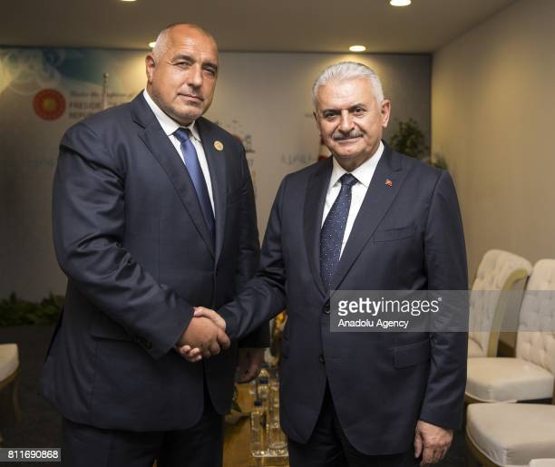 Turkish Prime Minister Binali Yildirim meets with Bulgarian Prime Minister Boyko Borisov as part of the 22nd World Petroleum Congress the largest...