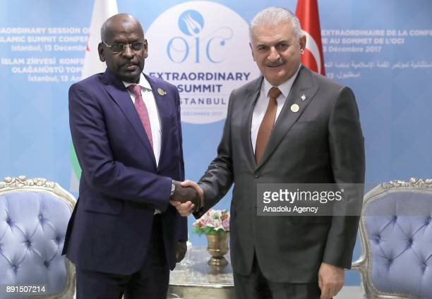Turkish Prime Minister Binali Yildirim meets with Prime Minister of Djibouti Abdoulkader Kamil Mohamed within the extraordinary summit of the...