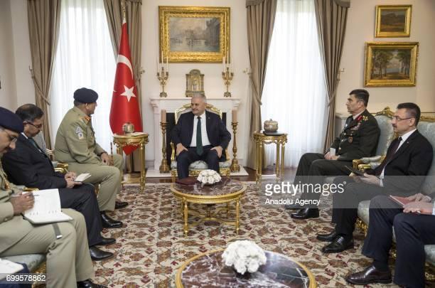 Turkish Prime Minister Binali Yildirim Pakistani Army Chief General Qamar Javed Bajwa Turkish Land Forces Commander Gen Salih Zeki Colak and Turkish...