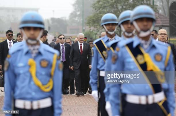 Turkish Prime Minister Binali Yildirim visits the National Martyrs' Memorial at Savar, Dhaka, Bangladesh on December 19, 2017.