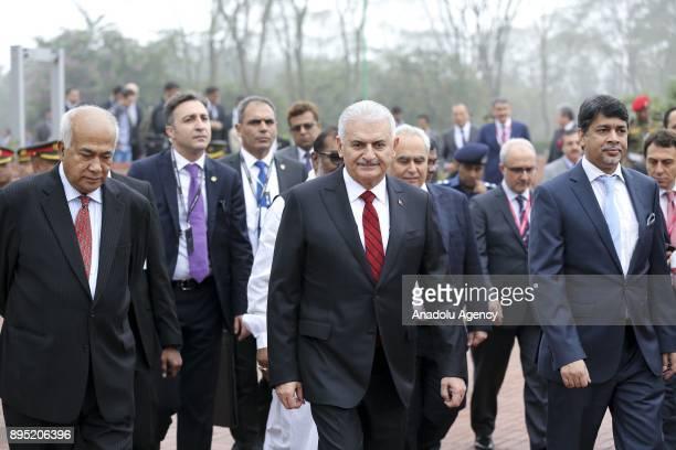 Turkish Prime Minister Binali Yildirim visits the National Martyrs' Memorial at Savar Dhaka Bangladesh on December 19 2017