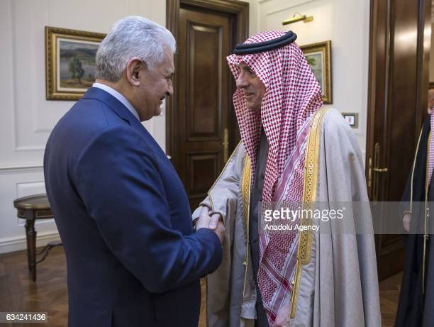 Turkish Prime Minister Binali Yildirim welcomes Minister of Foreign Affairs of Saudi Arabia, Adel al-Jubeir prior to their meeting at Cankaya Palace...