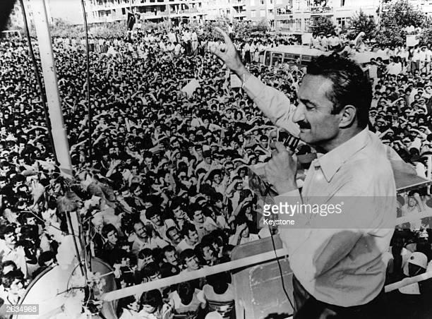 Turkish Prime Minister Bulent Ecevit electioneering in Rize September 1979
