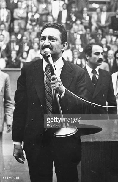 Turkish Prime Minister Bulent Ecevit giving a speech circa 1978