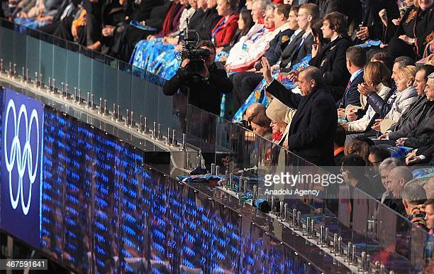 Turkish Prime Minister Recep Tayyip Erdogan and his wife Emine Erdogan greet the Turkish Olympic team at the Opening Ceremony of the Sochi 2014...