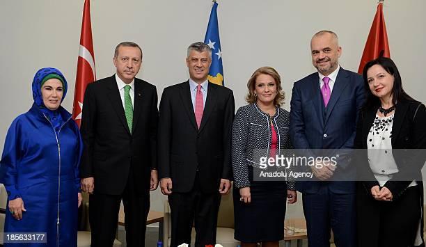 Turkish Prime Minister Recep Tayyip Erdogan and his wife Emine Erdogan , Kosovo Prime Minister Hashim Thaci and his wife Ludmije Thaci and Albanian...