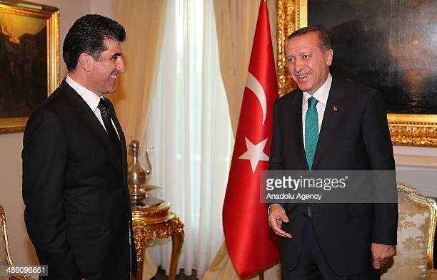 Turkish Prime Minister Recep Tayyip Erdogan and Prime Minister of Kurdish Regional Government Nechirvan Barzani meet at Turkish Prime Ministry...