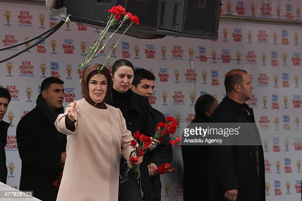 Turkish Prime Minister Recep Tayyip Erdogan come together with the public during local election rally by the ruling Justice and Development Party in...