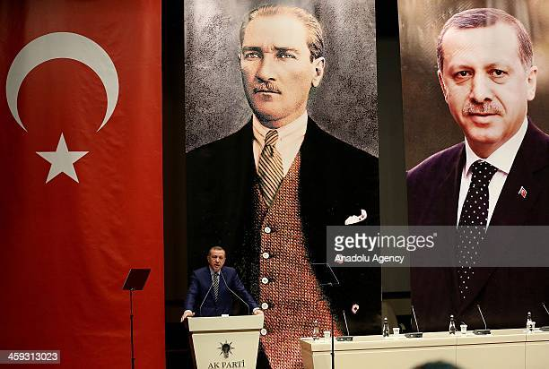 Turkish Prime Minister Recep Tayyip Erdogan delivers his speech at the ruling Justice and Development Party provincial chairmen's meeting in Ankara...