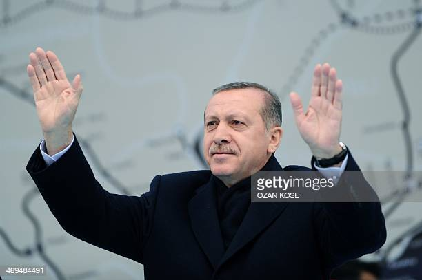 Turkish Prime Minister Recep Tayyip Erdogan gestures during the opening ceremony of the SishaneGolden HornYenikapi metro line in Istanbul on February...