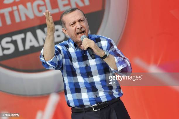 Turkish Prime Minister Recep Tayyip Erdogan makes a speach to supporters during a rally on June 16 in Istanbul Turkish Prime Minister Recep Tayyip...