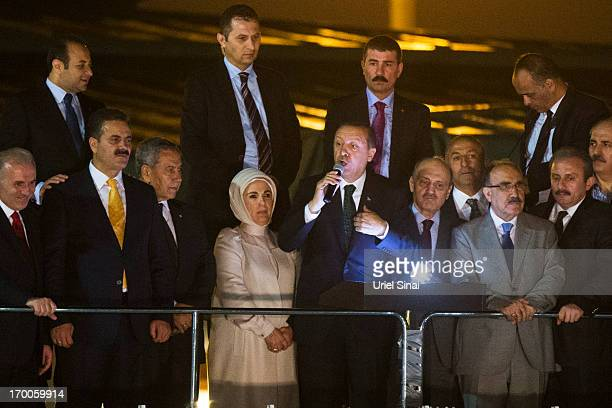 Turkish Prime Minister Recep Tayyip Erdogan speaks to his supporters on June 7 2013 in Istanbul Turkey Thousands of supporters greeted the prime...