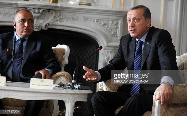 Turkish Prime Minister Recep Tayyip Erdogan speaks to journalists during a joint news conference with Bulgarian Prime Minister Boyko Borisov and...