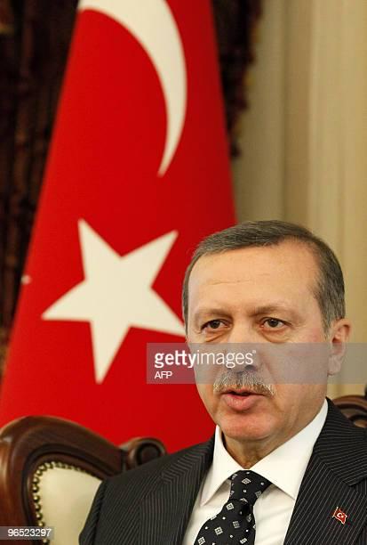 Turkish Prime Minister Tayyip Erdogan addresses the media in Ankara on February 9, 2010. Erdogan expressed satisfaction after Bosnia-Hercegovina has...