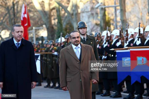 Turkish Prime Minister Tayyip Erdogan and Sheikh Salman Bin Hamad Al Khalifa the Crown Prince and CommanderinChief of the Bahrain Defence Force...