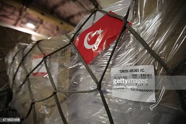 Turkish Prime Ministry Disaster and Emergency Management's 16 tons of humanitarian aid including diapers tooth paste tuna fish rice and flour arrive...