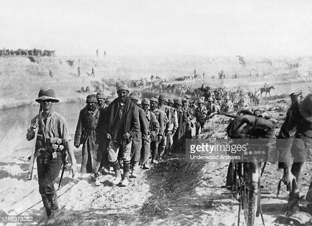 Turkish prisoners of war who were captured by the British on their advance through Mesopotamia Kara Tepe Turkey May 28 1918