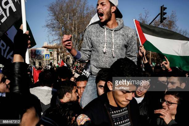 Turkish protesters during a demonstration against the US president's recognition of Jerusalem as Israel's capital in Istanbul on December 8 2017...