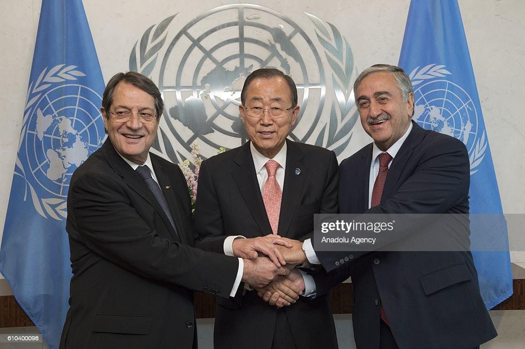 Mustafa Akinci - Ban Ki-moon - Nikos Anastasiadis meeting in New York : ニュース写真