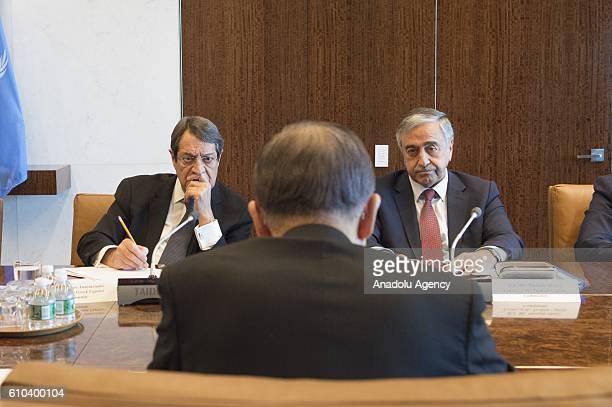 Turkish Republic of Northern Cyprus President Mustafa Akinci , United Nations Secretary General Ban Ki-moon and Greek Cypriot leader Nikos...