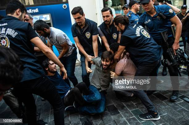 Turkish riot police detain protesters of Saturday mothers group demonstration on August 25 2018 in Istanbul Istanbul police break up a regular...