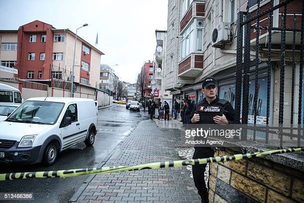 Turkish security forces cordon off an area where alleged suspects who have hurled hand grenades and open fired at police special forces headquarters...