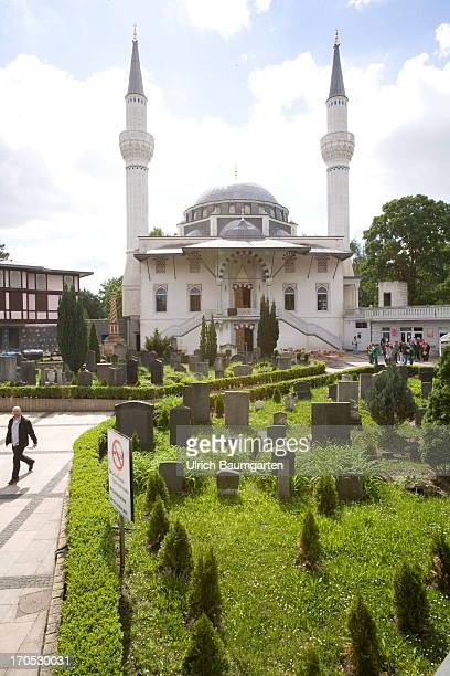 Turkish Sehitlik mosque with the graveyard in the district Neukoelln on May 27 2013 in Berlin Germany