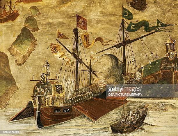 Turkish ship and a galleon detail from Battle of Navarino in 1572 fresco on the ground floor portico Palace of the Marquis of Santa Cruz Viso del...