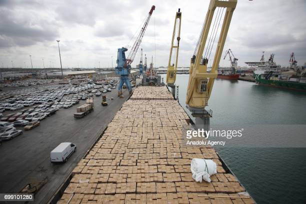 Turkish ship 'Sefkat' carrying 10 thousands of tones of food and equipment for Gaza is arrived at Israel's Ashdod port prior to entering the Gaza...