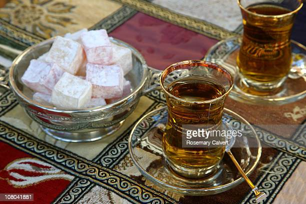 Turkish snack of Turkish delight and apple tea