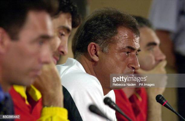 Turkish soccer team Galatasaray SK coach Fatih Terim pauses during a press conference at the Parken Stadium in Copenhagen ahead of his team's UEFA...
