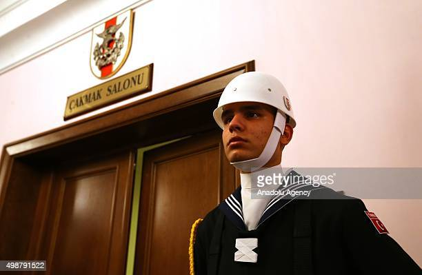 Turkish soldier stands guard as Turkish Supreme Military Council meeting under the presidency of Turkish Prime Minister Ahmet Davutoglu is held at...