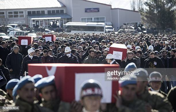Turkish Soldiers and people carry the coffins of Special operation police officer Osman Yurt Police officer Mehmet Gungordu Infantry Vedat Dolancay...